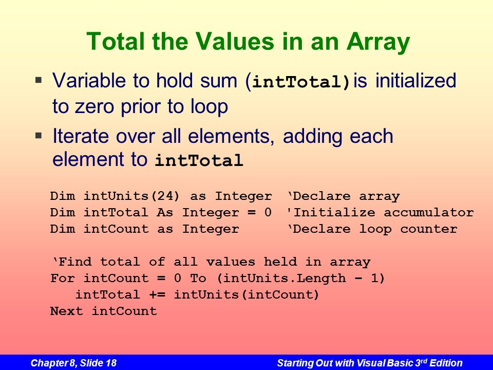 Chapter 8, Slide 18Starting Out with Visual Basic 3 rd Edition Total the Values in an Array Variable to hold sum ( intTotal) is initialized to zero prior to loop Iterate over all elements, adding each element to intTotal Dim intUnits(24) as IntegerDeclare array Dim intTotal As Integer = 0 Initialize accumulator Dim intCount as IntegerDeclare loop counter Find total of all values held in array For intCount = 0 To (intUnits.Length – 1) intTotal += intUnits(intCount) Next intCount