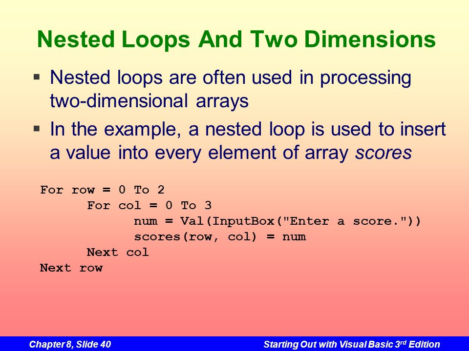 Chapter 8, Slide 40Starting Out with Visual Basic 3 rd Edition Nested Loops And Two Dimensions For row = 0 To 2 For col = 0 To 3 num = Val(InputBox( Enter a score. )) scores(row, col) = num Next col Next row Nested loops are often used in processing two-dimensional arrays In the example, a nested loop is used to insert a value into every element of array scores