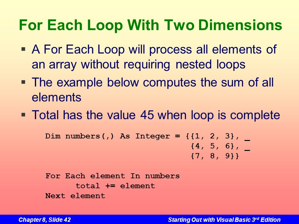 Chapter 8, Slide 42Starting Out with Visual Basic 3 rd Edition For Each Loop With Two Dimensions A For Each Loop will process all elements of an array without requiring nested loops The example below computes the sum of all elements Total has the value 45 when loop is complete Dim numbers(,) As Integer = {{1, 2, 3}, _ {4, 5, 6}, _ {7, 8, 9}} For Each element In numbers total += element Next element