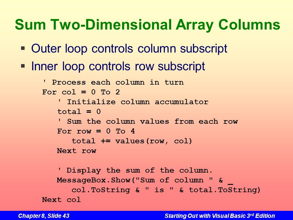 Chapter 8, Slide 43Starting Out with Visual Basic 3 rd Edition Sum Two-Dimensional Array Columns Process each column in turn For col = 0 To 2 Initialize column accumulator total = 0 Sum the column values from each row For row = 0 To 4 total += values(row, col) Next row Display the sum of the column.