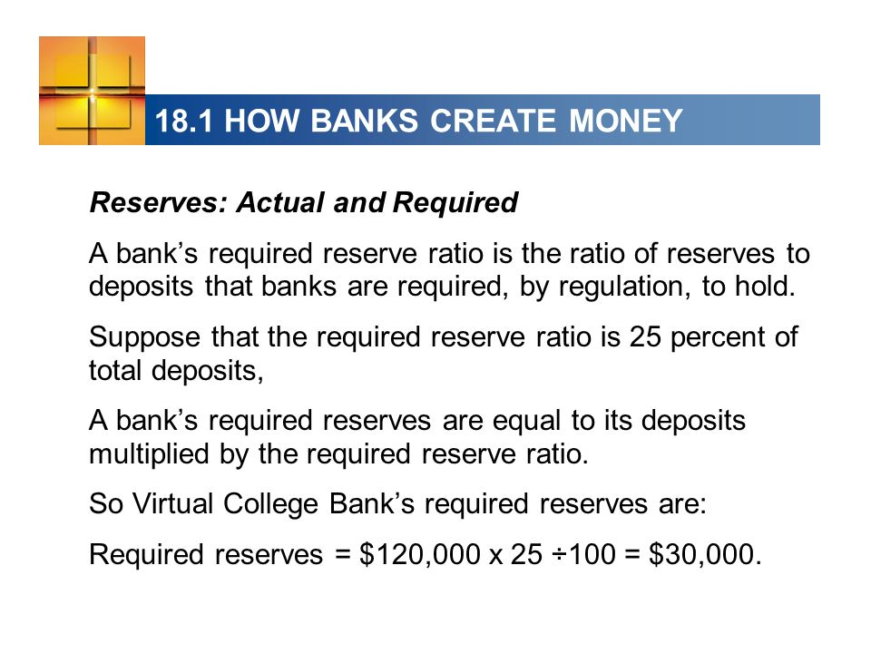 18.1 HOW BANKS CREATE MONEY Reserves: Actual and Required A banks required reserve ratio is the ratio of reserves to deposits that banks are required, by regulation, to hold.