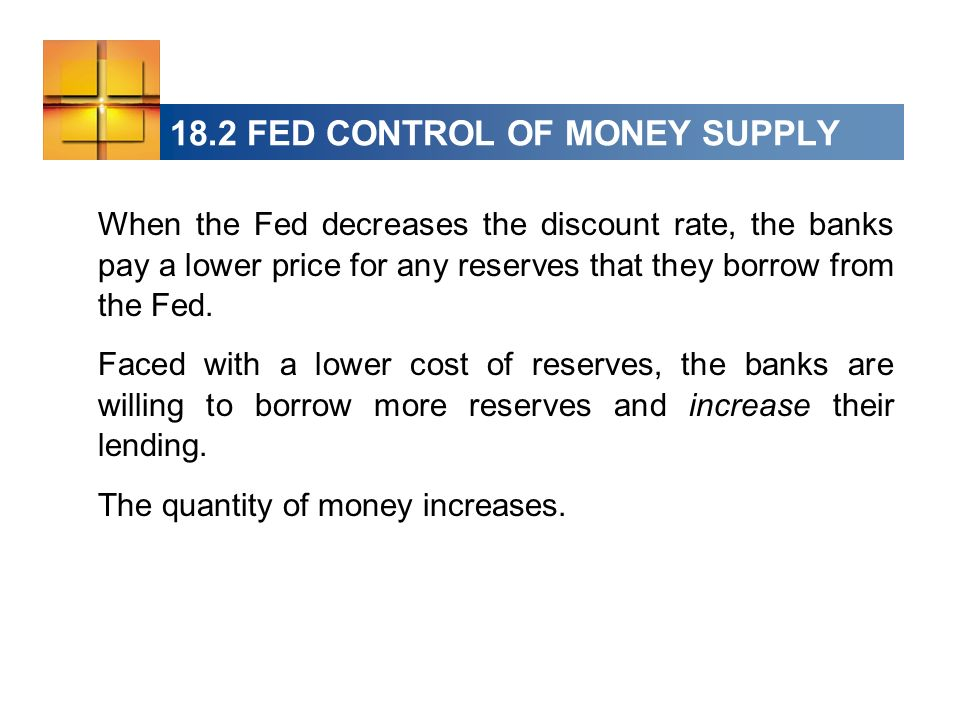 18.2 FED CONTROL OF MONEY SUPPLY When the Fed decreases the discount rate, the banks pay a lower price for any reserves that they borrow from the Fed.