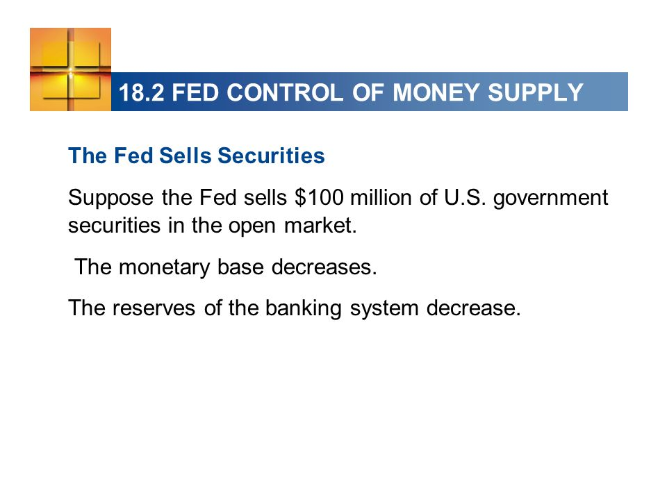 18.2 FED CONTROL OF MONEY SUPPLY The Fed Sells Securities Suppose the Fed sells $100 million of U.S.