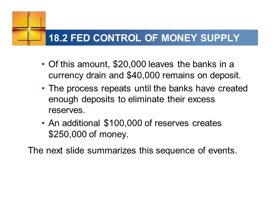 18.2 FED CONTROL OF MONEY SUPPLY Of this amount, $20,000 leaves the banks in a currency drain and $40,000 remains on deposit.