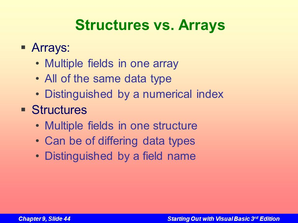 Chapter 9, Slide 44Starting Out with Visual Basic 3 rd Edition Structures vs. Arrays Arrays: Multiple fields in one array All of the same data type Di