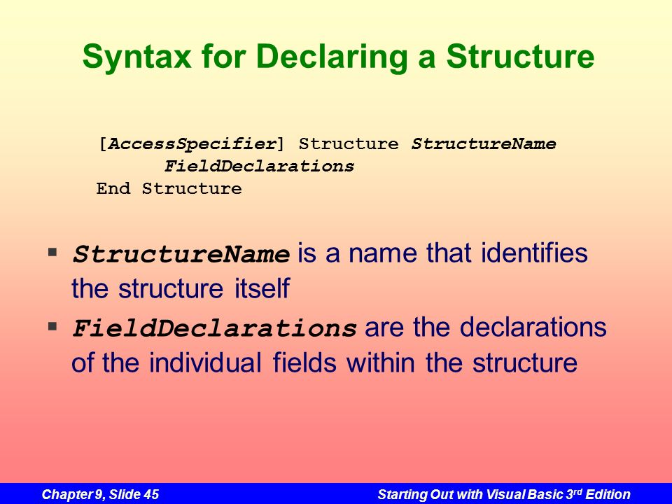 Chapter 9, Slide 45Starting Out with Visual Basic 3 rd Edition Syntax for Declaring a Structure StructureName is a name that identifies the structure