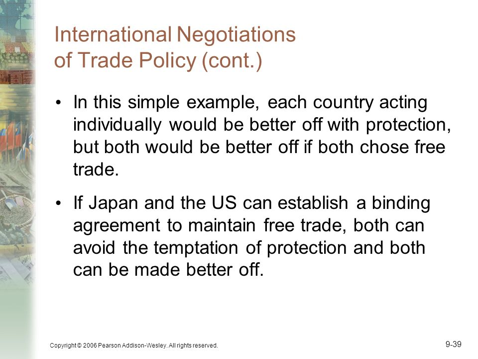 Copyright © 2006 Pearson Addison-Wesley. All rights reserved. 9-39 International Negotiations of Trade Policy (cont.) In this simple example, each cou