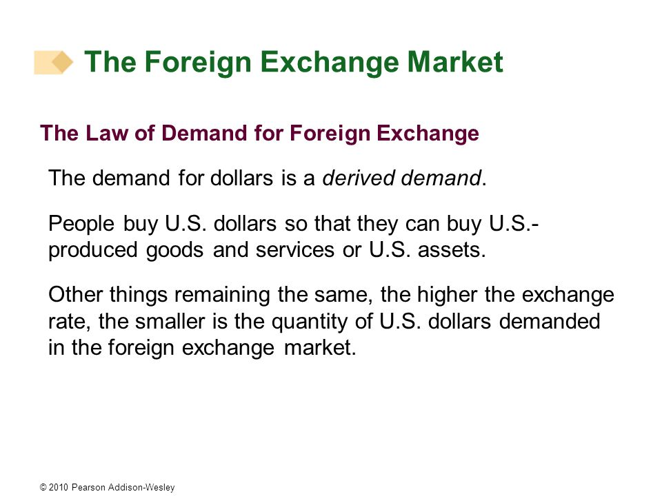 © 2010 Pearson Addison-Wesley The Law of Demand for Foreign Exchange The demand for dollars is a derived demand. People buy U.S. dollars so that they