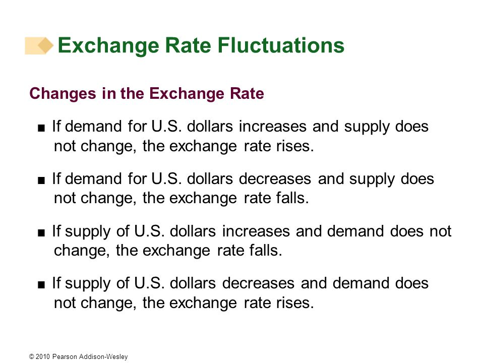 © 2010 Pearson Addison-Wesley Changes in the Exchange Rate If demand for U.S. dollars increases and supply does not change, the exchange rate rises. I