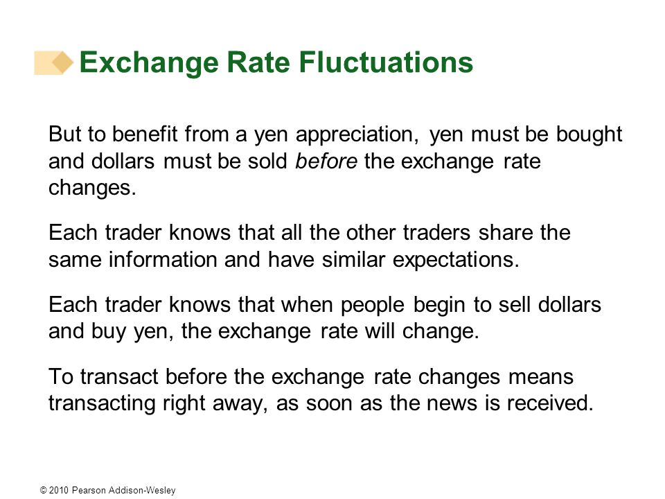 © 2010 Pearson Addison-Wesley But to benefit from a yen appreciation, yen must be bought and dollars must be sold before the exchange rate changes.