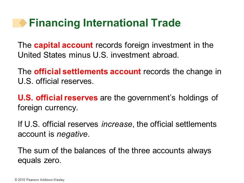 © 2010 Pearson Addison-Wesley The capital account records foreign investment in the United States minus U.S.
