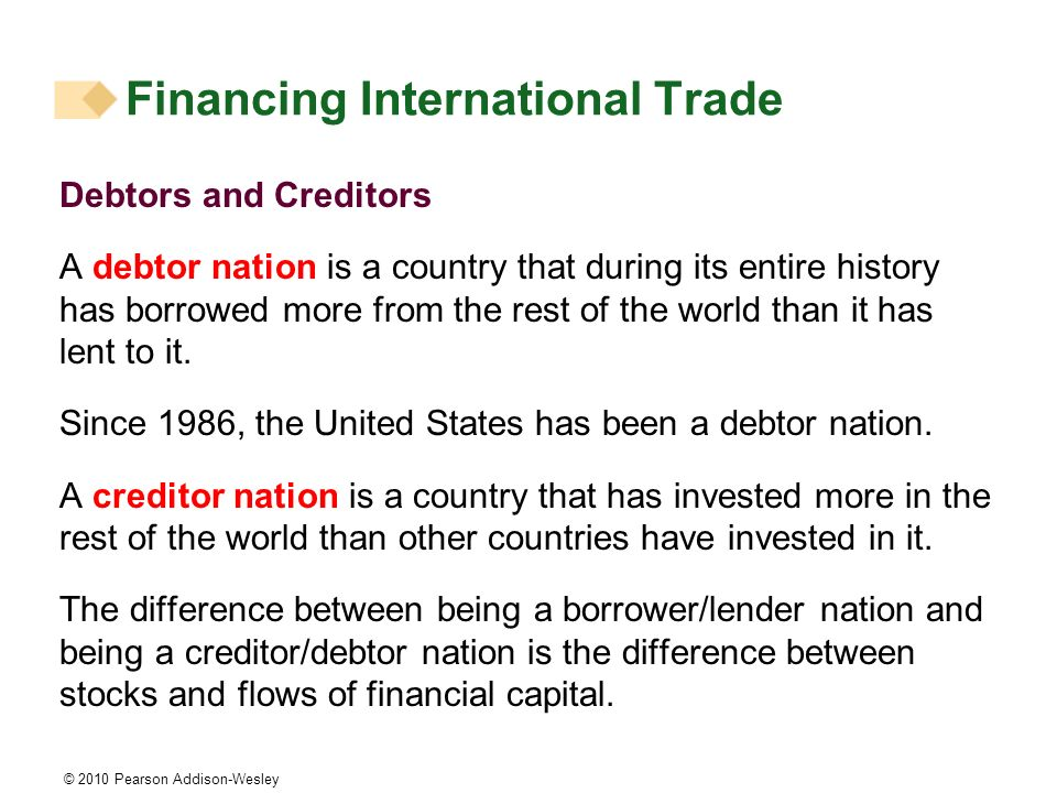© 2010 Pearson Addison-Wesley Debtors and Creditors A debtor nation is a country that during its entire history has borrowed more from the rest of the world than it has lent to it.