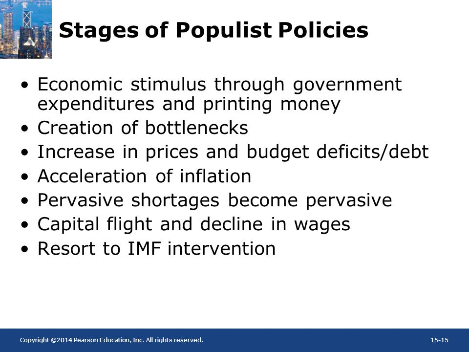 Copyright ©2014 Pearson Education, Inc. All rights reserved.15-15 Stages of Populist Policies Economic stimulus through government expenditures and pr