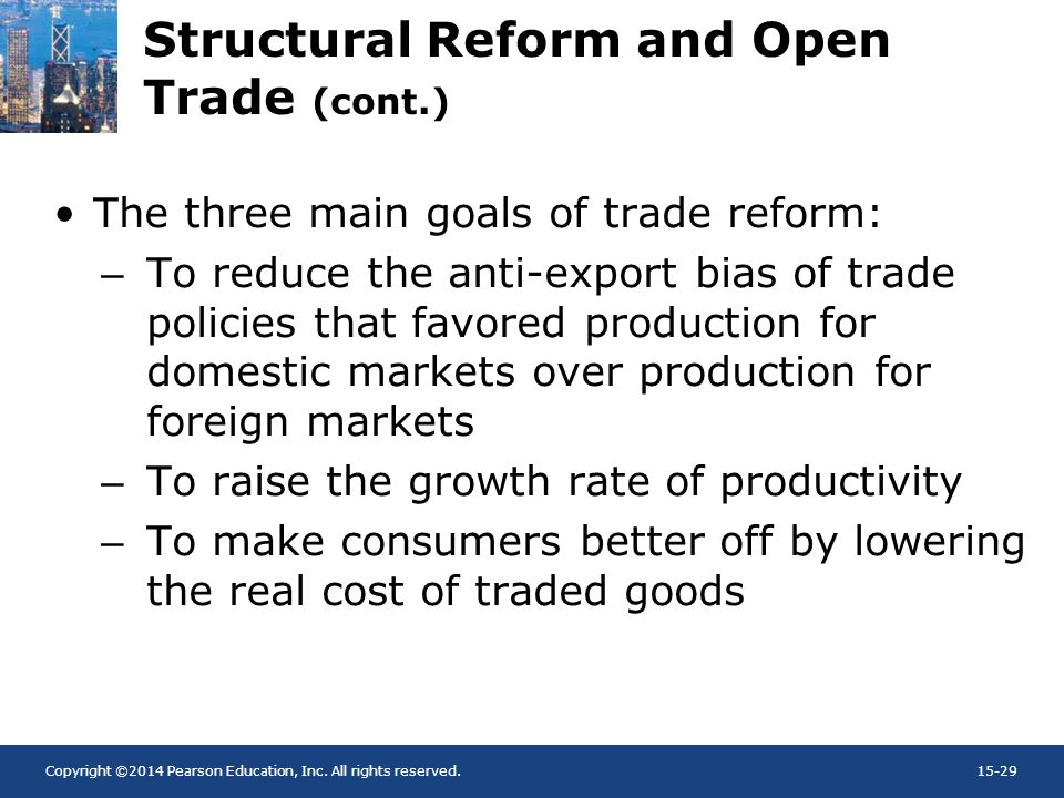 Copyright ©2014 Pearson Education, Inc. All rights reserved.15-29 Structural Reform and Open Trade (cont.) The three main goals of trade reform: –To r