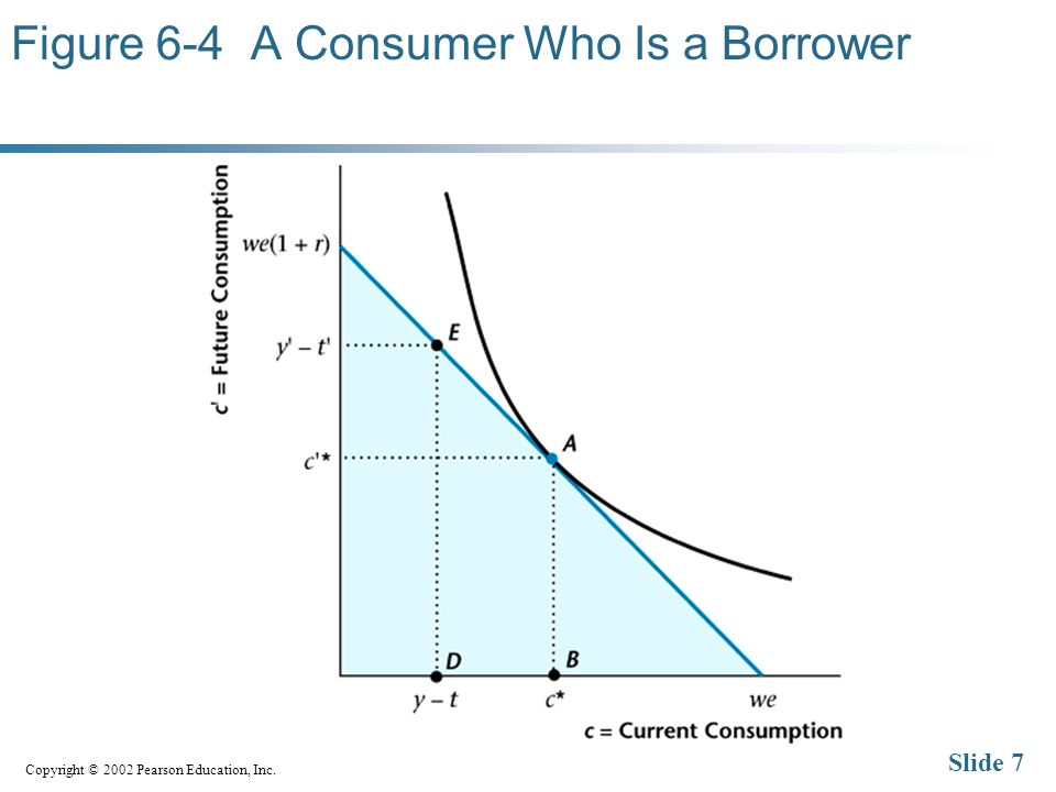 Copyright © 2002 Pearson Education, Inc. Slide 7 Figure 6-4 A Consumer Who Is a Borrower