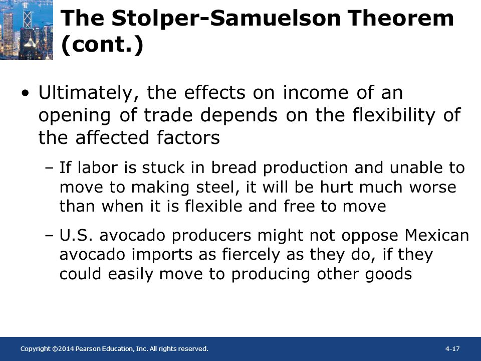 Copyright ©2014 Pearson Education, Inc. All rights reserved.4-17 Ultimately, the effects on income of an opening of trade depends on the flexibility o