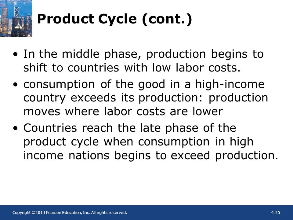 Copyright ©2014 Pearson Education, Inc. All rights reserved.4-25 Product Cycle (cont.) In the middle phase, production begins to shift to countries wi