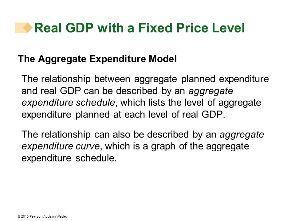 © 2010 Pearson Addison-Wesley Real GDP with a Fixed Price Level The Aggregate Expenditure Model The relationship between aggregate planned expenditure