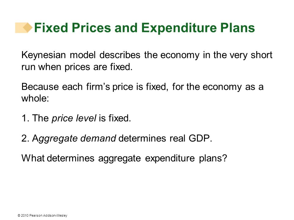 Fixed Prices and Expenditure Plans Keynesian model describes the economy in the very short run when prices are fixed. Because each firms price is fixe