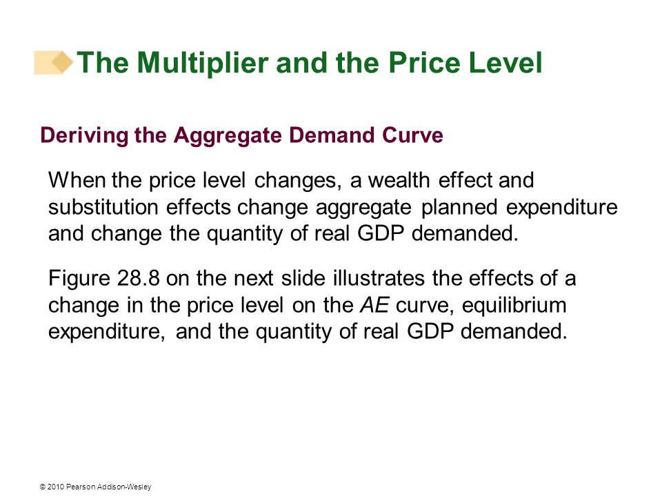 © 2010 Pearson Addison-Wesley The Multiplier and the Price Level Deriving the Aggregate Demand Curve When the price level changes, a wealth effect and