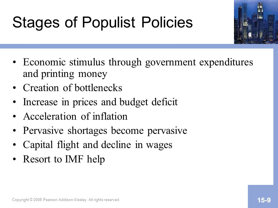 Copyright © 2008 Pearson Addison-Wesley. All rights reserved. 15-9 Stages of Populist Policies Economic stimulus through government expenditures and p