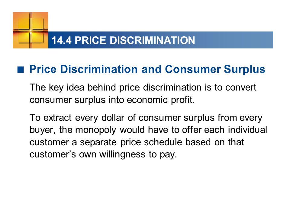 14.4 PRICE DISCRIMINATION Price Discrimination and Consumer Surplus The key idea behind price discrimination is to convert consumer surplus into economic profit.