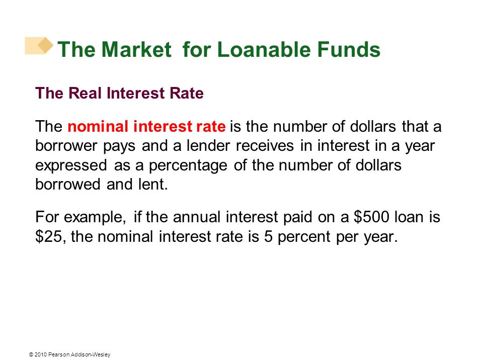 The Real Interest Rate The nominal interest rate is the number of dollars that a borrower pays and a lender receives in interest in a year expressed a
