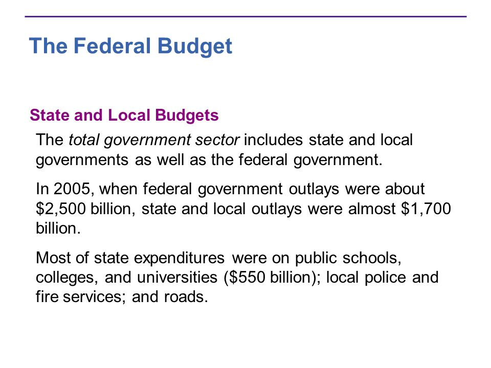 The Federal Budget State and Local Budgets The total government sector includes state and local governments as well as the federal government.