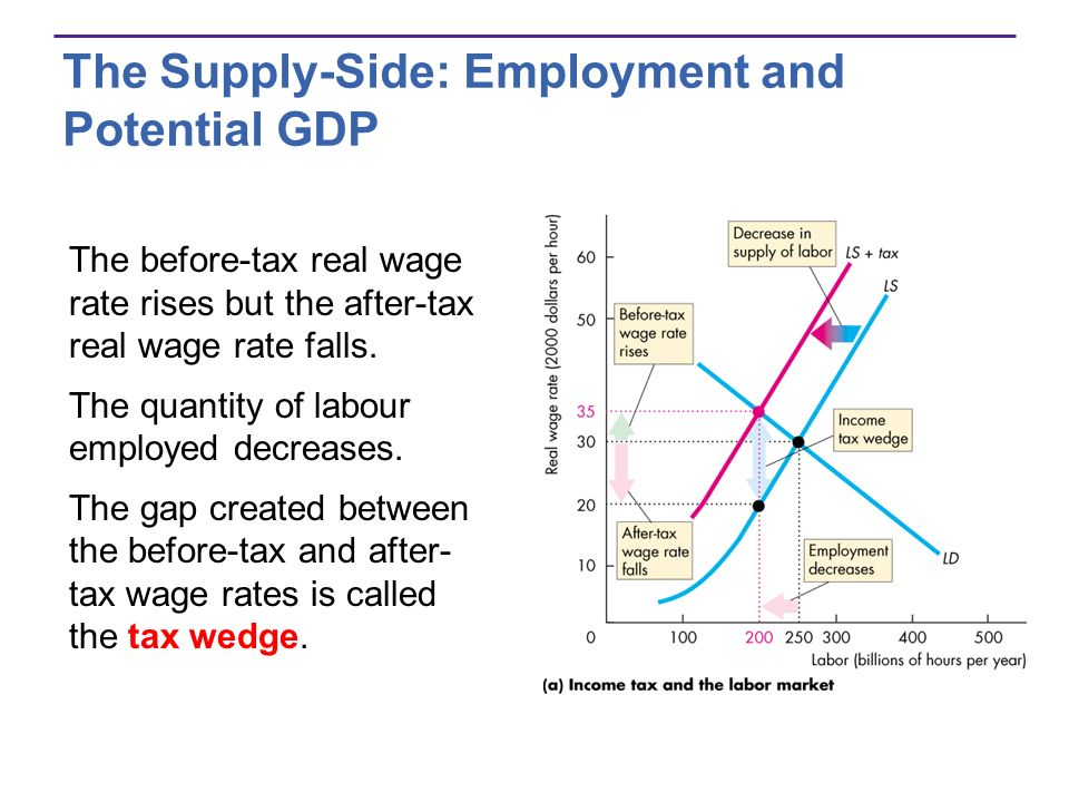 The Supply-Side: Employment and Potential GDP The before-tax real wage rate rises but the after-tax real wage rate falls. The quantity of labour emplo