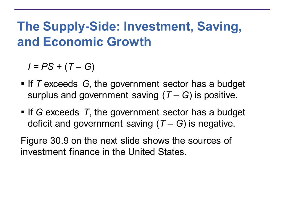 The Supply-Side: Investment, Saving, and Economic Growth I = PS + (T – G) If T exceeds G, the government sector has a budget surplus and government saving (T – G) is positive.