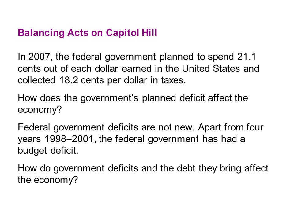 Balancing Acts on Capitol Hill In 2007, the federal government planned to spend 21.1 cents out of each dollar earned in the United States and collected 18.2 cents per dollar in taxes.
