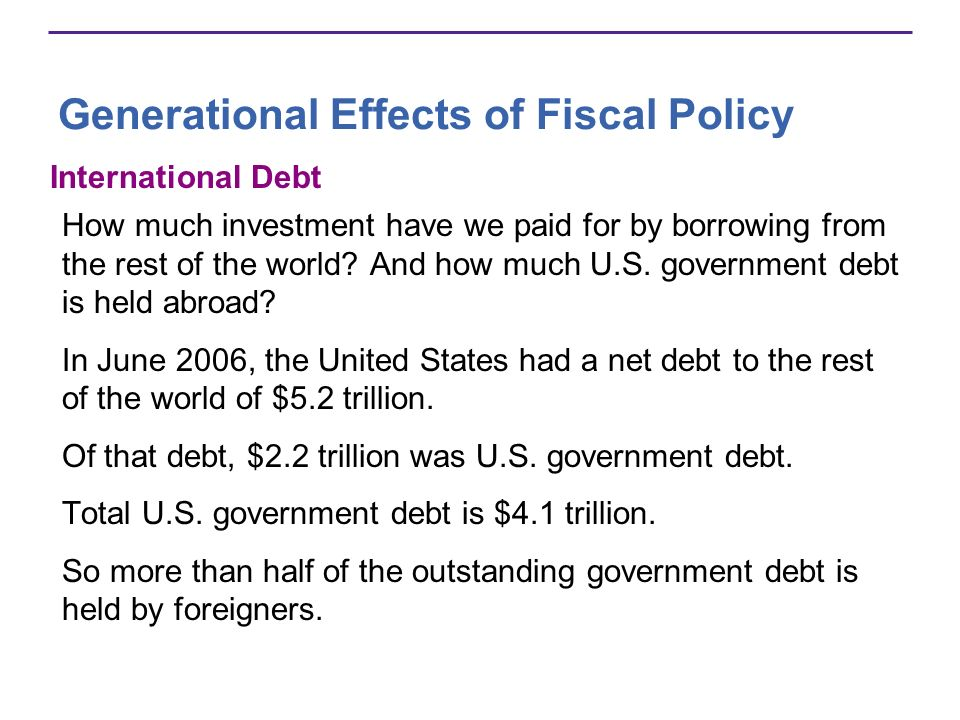 Generational Effects of Fiscal Policy International Debt How much investment have we paid for by borrowing from the rest of the world? And how much U.