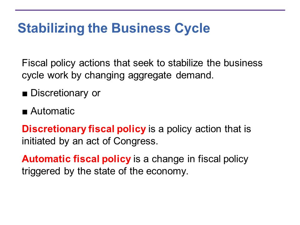 Stabilizing the Business Cycle Fiscal policy actions that seek to stabilize the business cycle work by changing aggregate demand. Discretionary or Aut