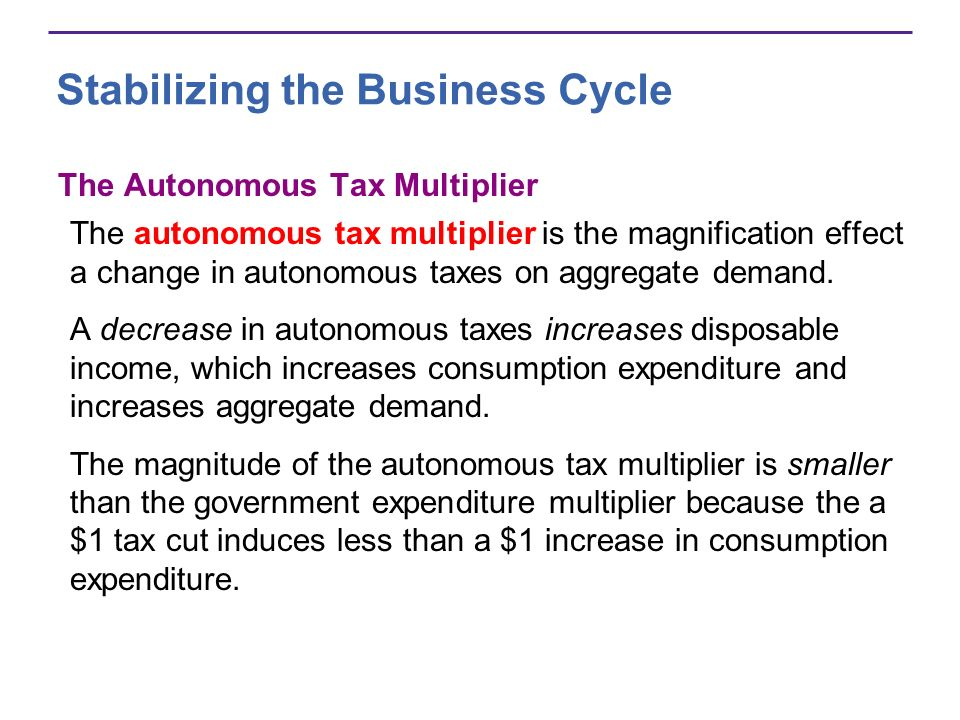 Stabilizing the Business Cycle The Autonomous Tax Multiplier The autonomous tax multiplier is the magnification effect a change in autonomous taxes on