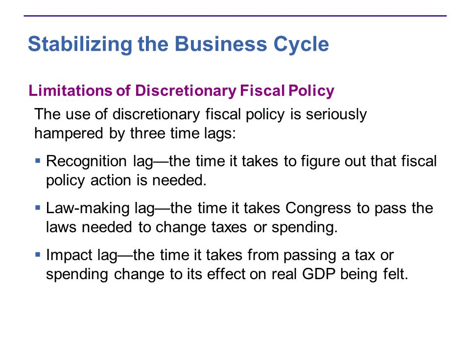 Limitations of Discretionary Fiscal Policy The use of discretionary fiscal policy is seriously hampered by three time lags: Recognition lagthe time it