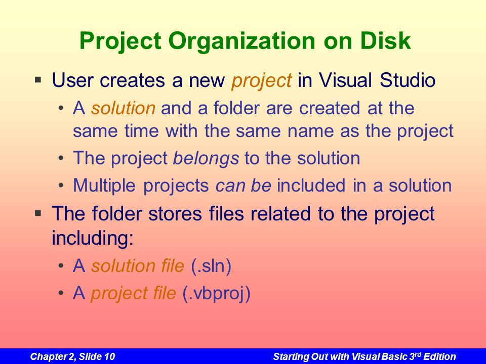 Chapter 2, Slide 10Starting Out with Visual Basic 3 rd Edition Project Organization on Disk User creates a new project in Visual Studio A solution and