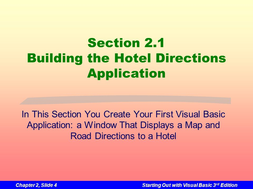 Chapter 2, Slide 4Starting Out with Visual Basic 3 rd Edition Section 2.1 Building the Hotel Directions Application In This Section You Create Your Fi