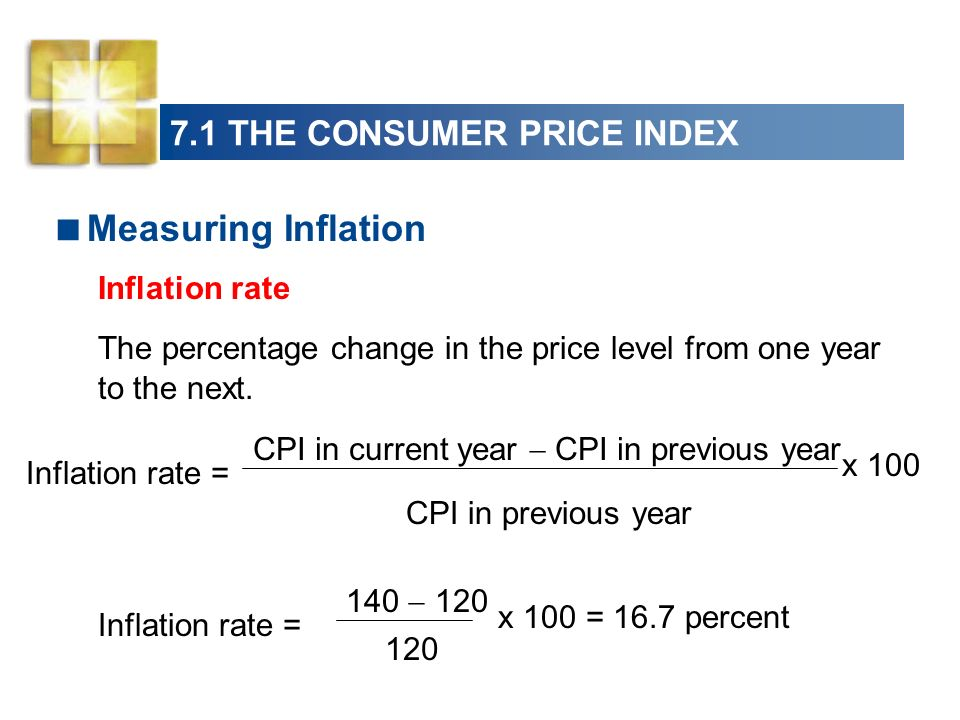7.1 THE CONSUMER PRICE INDEX Measuring Inflation Inflation rate The percentage change in the price level from one year to the next.