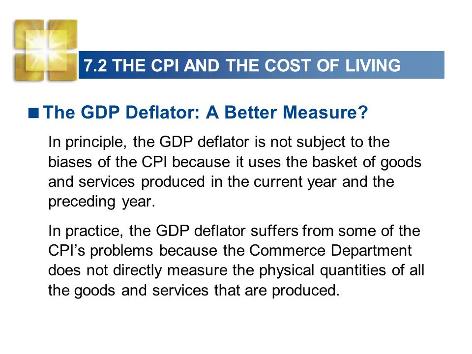 7.2 THE CPI AND THE COST OF LIVING The GDP Deflator: A Better Measure.