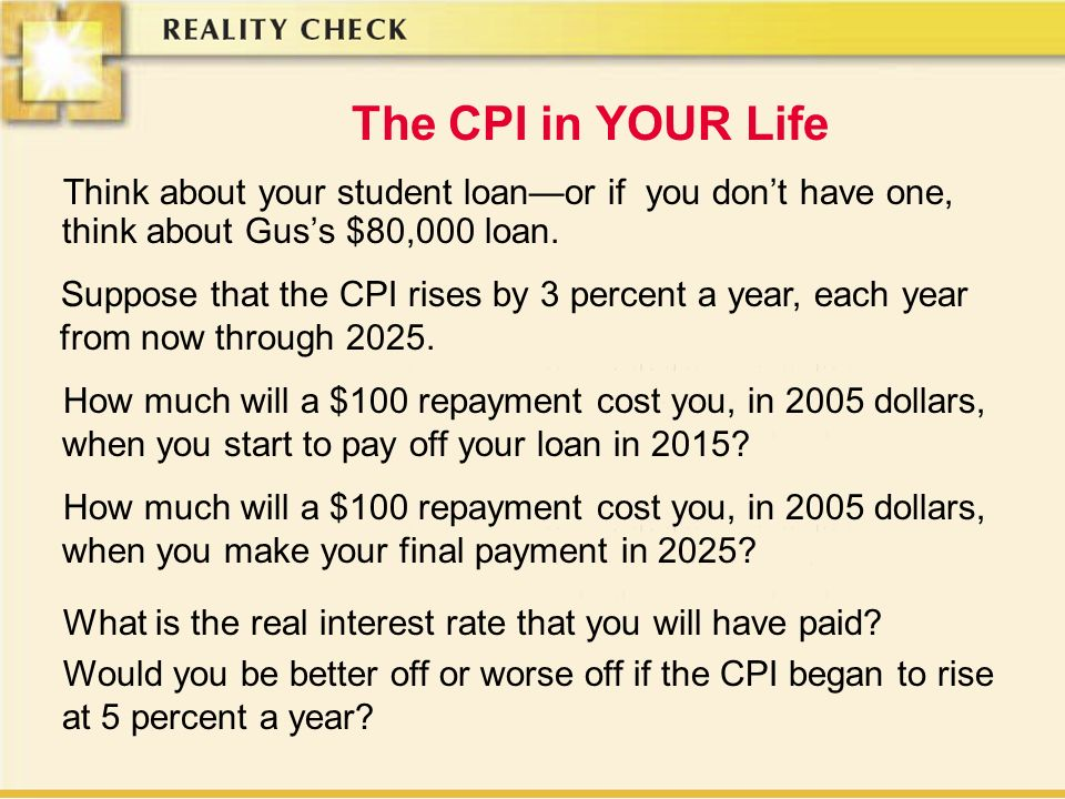 The CPI in YOUR Life Think about your student loanor if you dont have one, think about Guss $80,000 loan.
