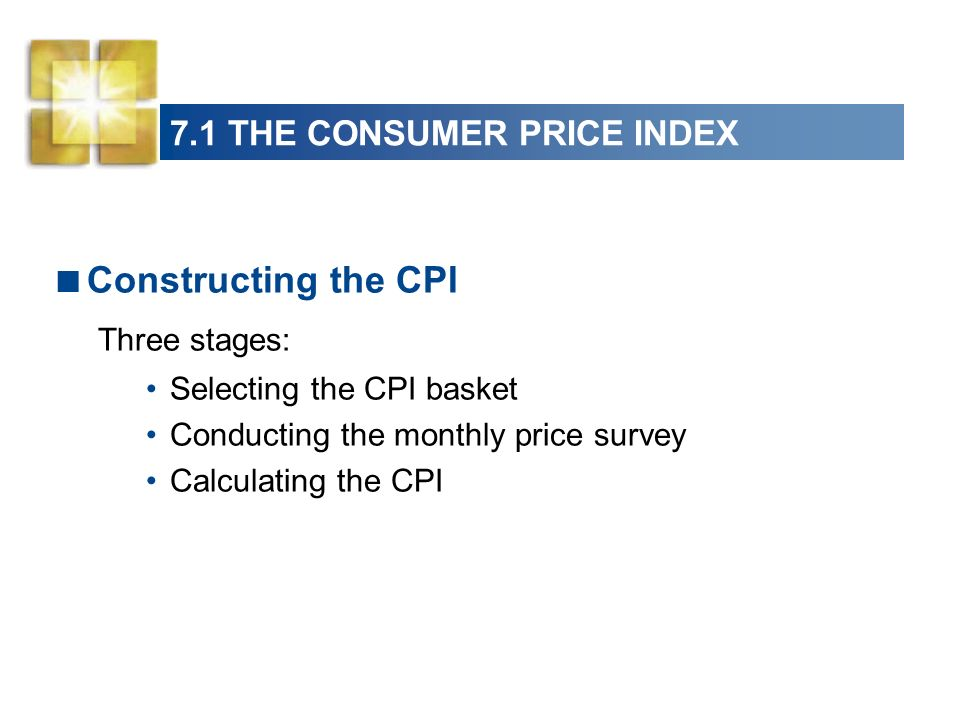 7.1 THE CONSUMER PRICE INDEX The CPI Basket Make the relative importance of the items in the CPI basket the same as in the budget of an average urban household.