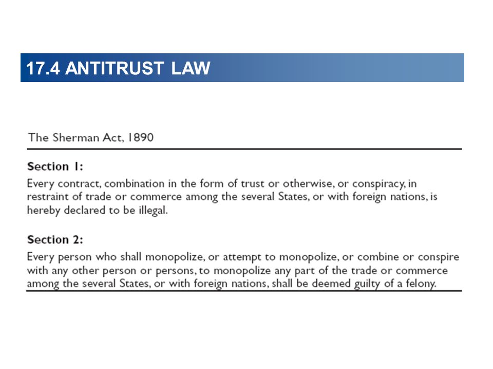 17.4 ANTITRUST LAW