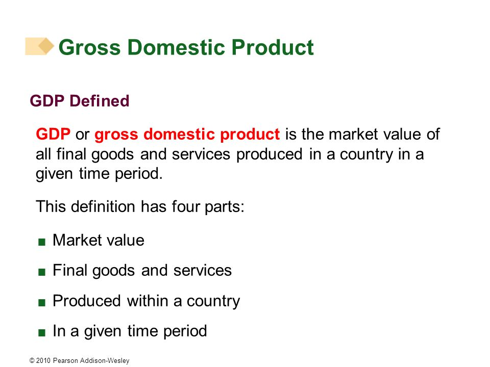 © 2010 Pearson Addison-Wesley Gross Domestic Product