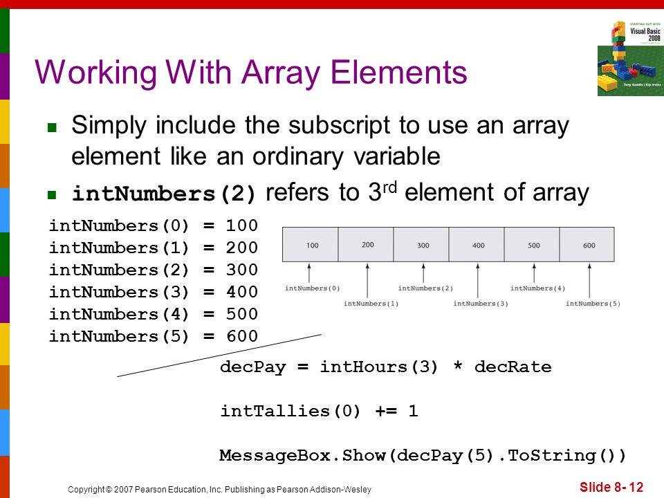 Copyright © 2007 Pearson Education, Inc. Publishing as Pearson Addison-Wesley Slide 8- 12 Working With Array Elements Simply include the subscript to