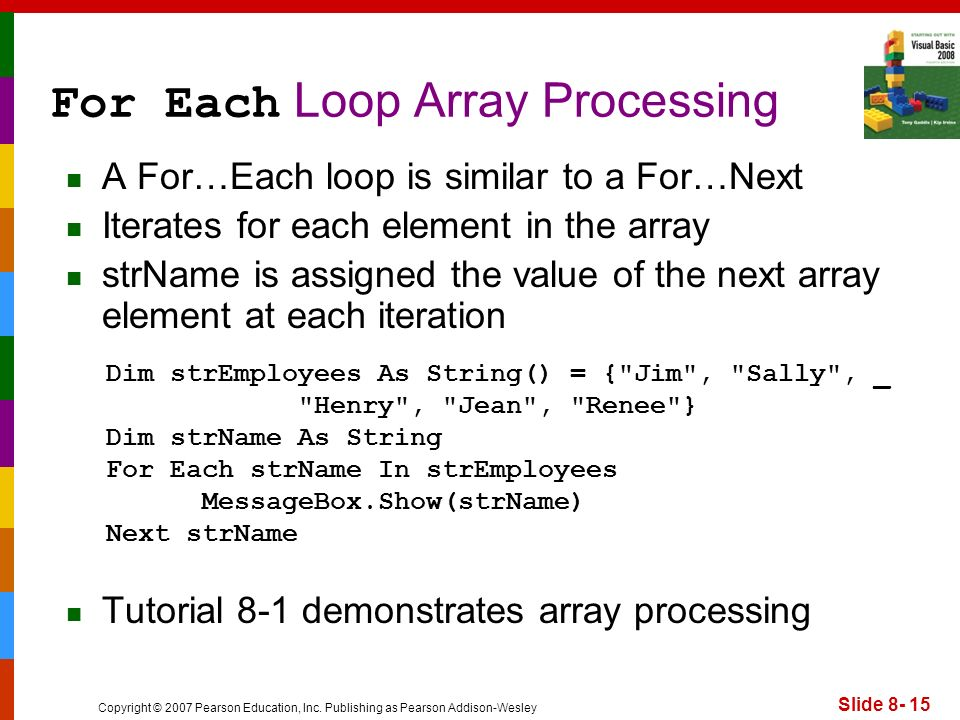 Copyright © 2007 Pearson Education, Inc. Publishing as Pearson Addison-Wesley Slide 8- 15 For Each Loop Array Processing A For…Each loop is similar to