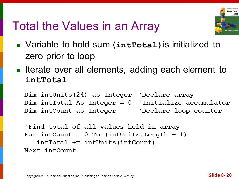 Copyright © 2007 Pearson Education, Inc. Publishing as Pearson Addison-Wesley Slide 8- 20 Total the Values in an Array Variable to hold sum ( intTotal