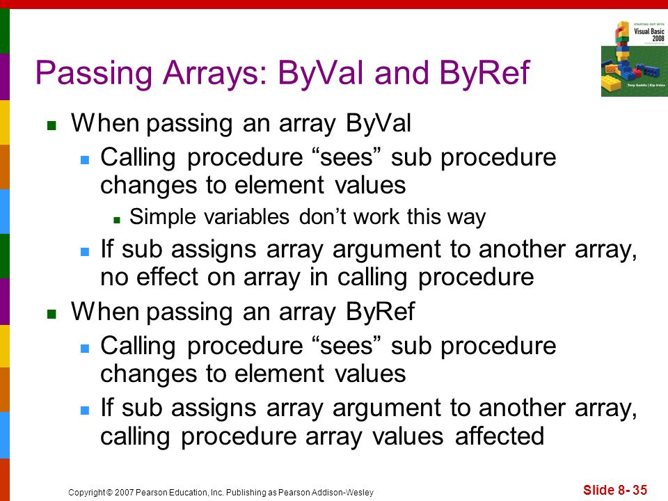 Copyright © 2007 Pearson Education, Inc. Publishing as Pearson Addison-Wesley Slide 8- 35 Passing Arrays: ByVal and ByRef When passing an array ByVal