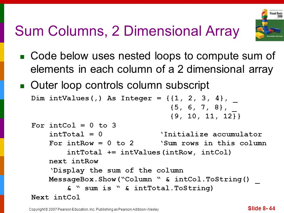 Copyright © 2007 Pearson Education, Inc. Publishing as Pearson Addison-Wesley Slide 8- 44 Sum Columns, 2 Dimensional Array Code below uses nested loop