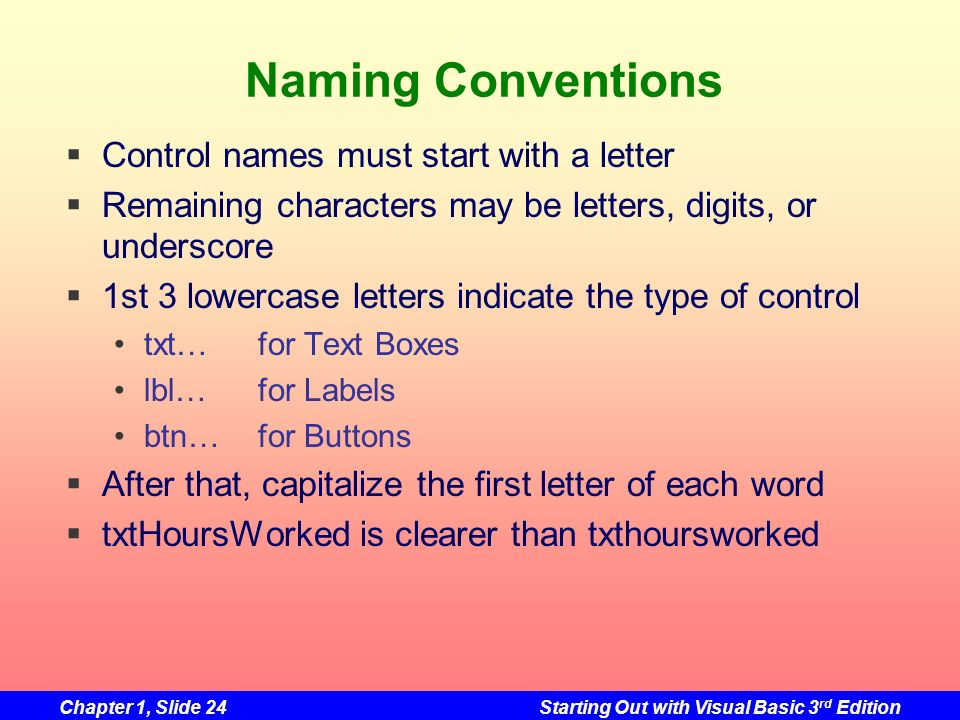 Chapter 1, Slide 24Starting Out with Visual Basic 3 rd Edition Naming Conventions Control names must start with a letter Remaining characters may be l