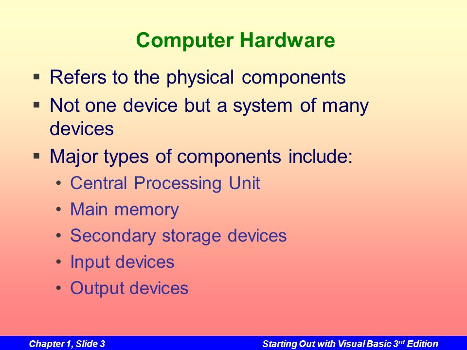 Chapter 1, Slide 3Starting Out with Visual Basic 3 rd Edition Computer Hardware Refers to the physical components Not one device but a system of many